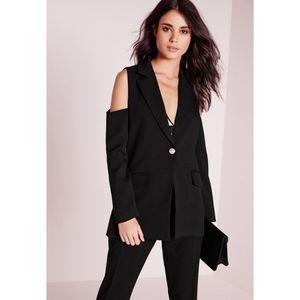 Missguided cold shoulder blazer black